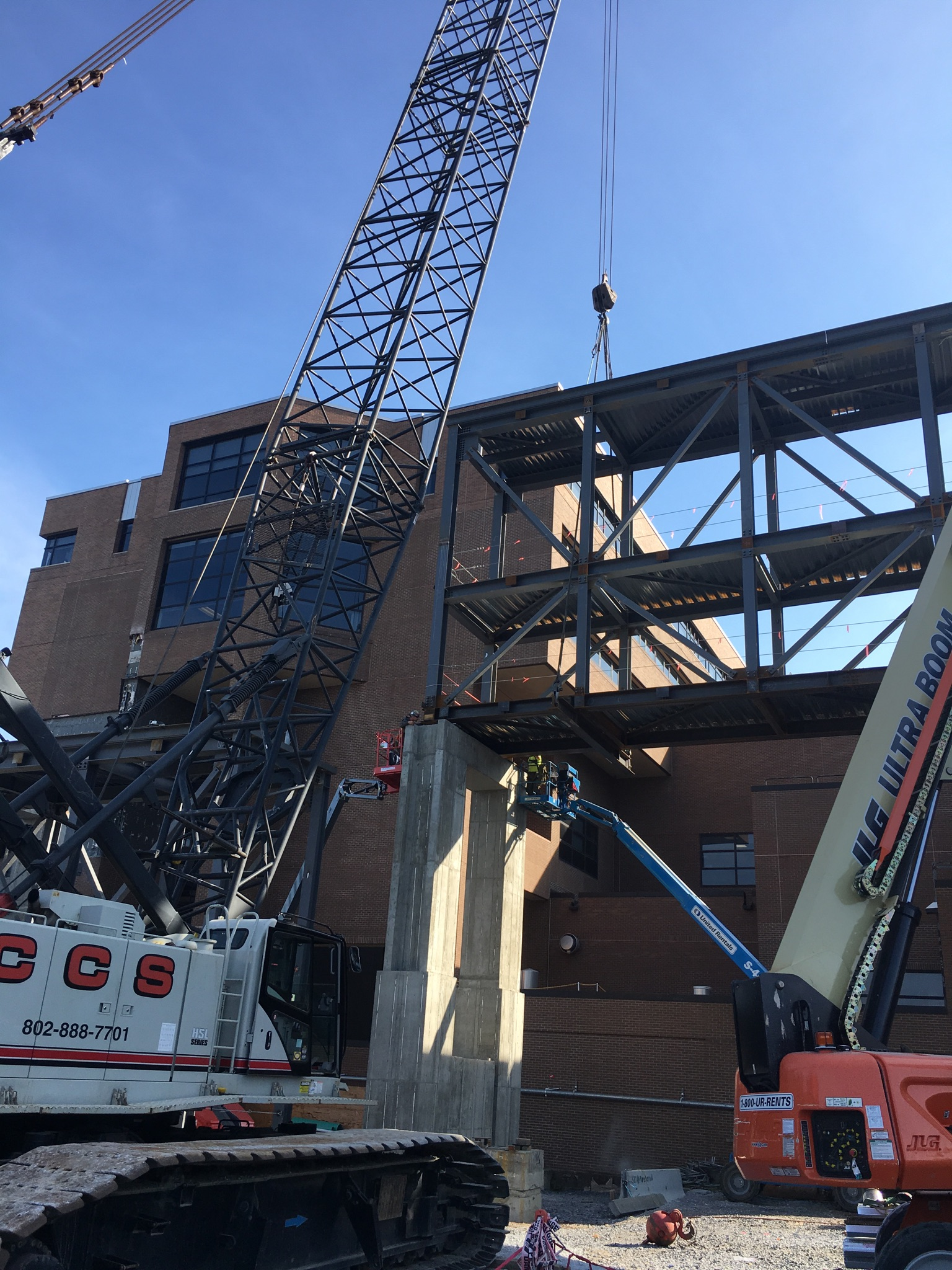 Erecting an elevated walkway at UVM Medical Center
