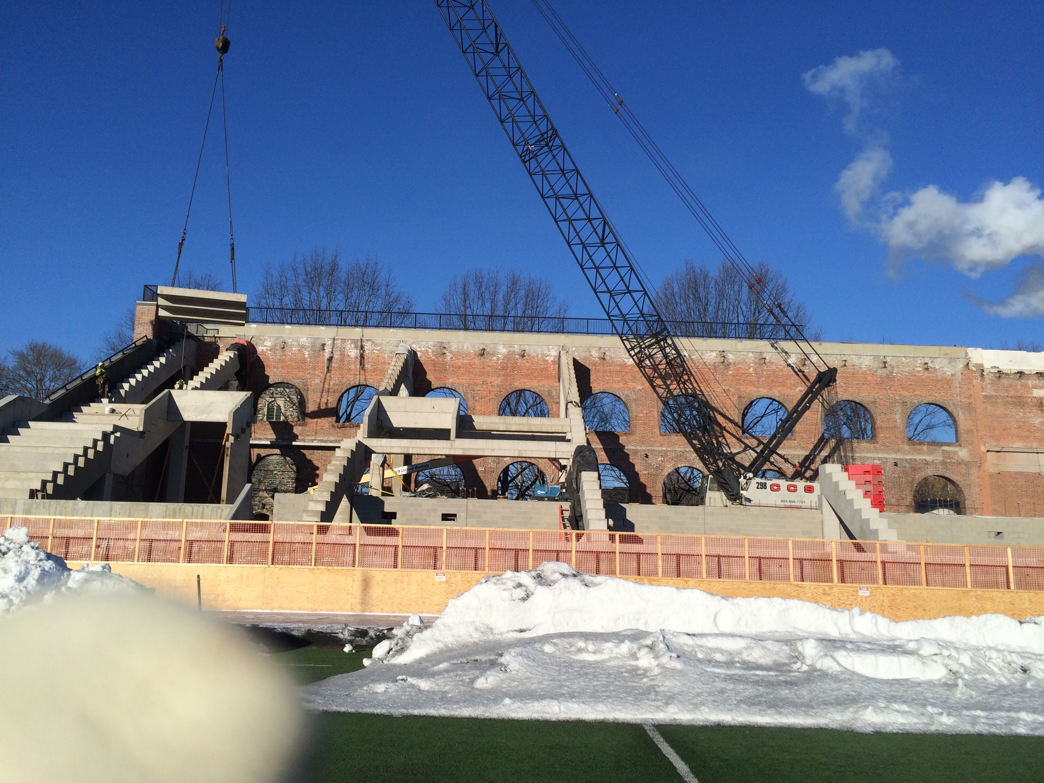 Erecting precast stadium seating at Dartmouth College